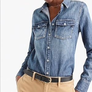 J Crew  small Everyday Chambray Blue button front